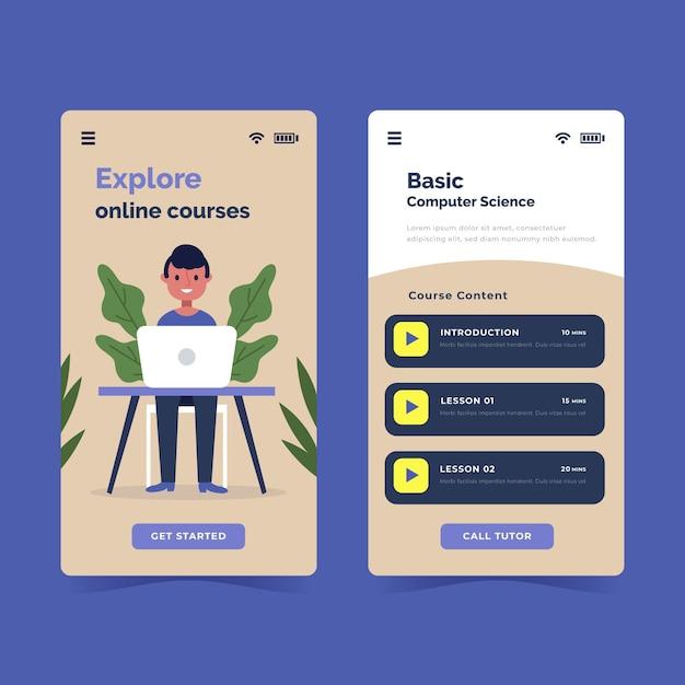 Flat design course app set Free Vector