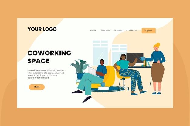 평면 디자인 coworking 방문 페이지 템플릿 무료 벡터