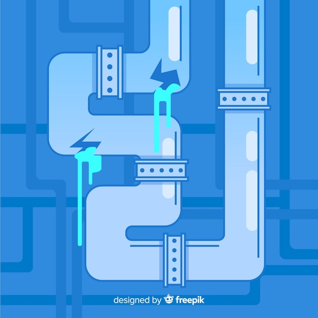 Flat design cracked pipe leaking water Free Vector