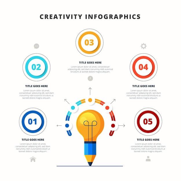 평면 디자인 창의력 Infographic 프리미엄 벡터