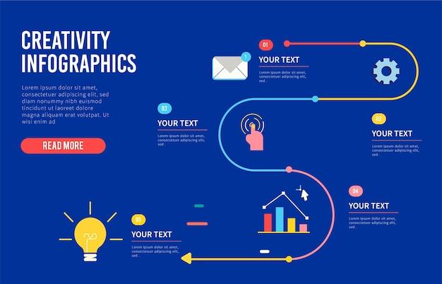 フラットなデザインの創造性のインフォグラフィック Premiumベクター