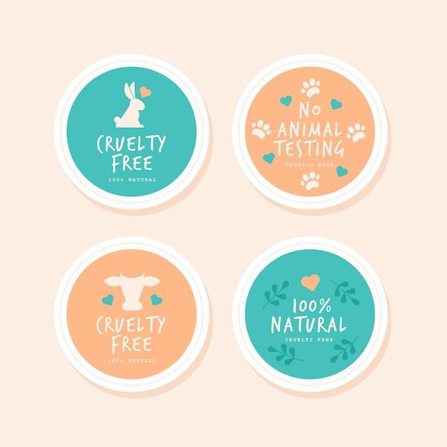 Collezione di badge cruelty free design piatto Vettore gratuito