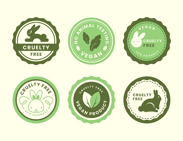 Flat design cruelty free badge collection Free Vector
