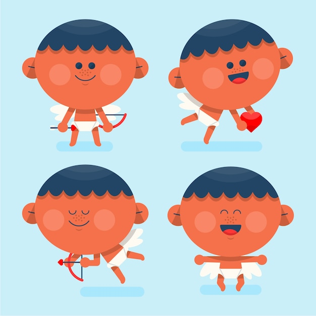 Flat design cupid cartoon collection Free Vector