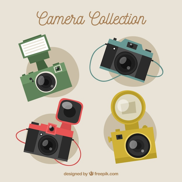 Flat design cute and vintage camera collection