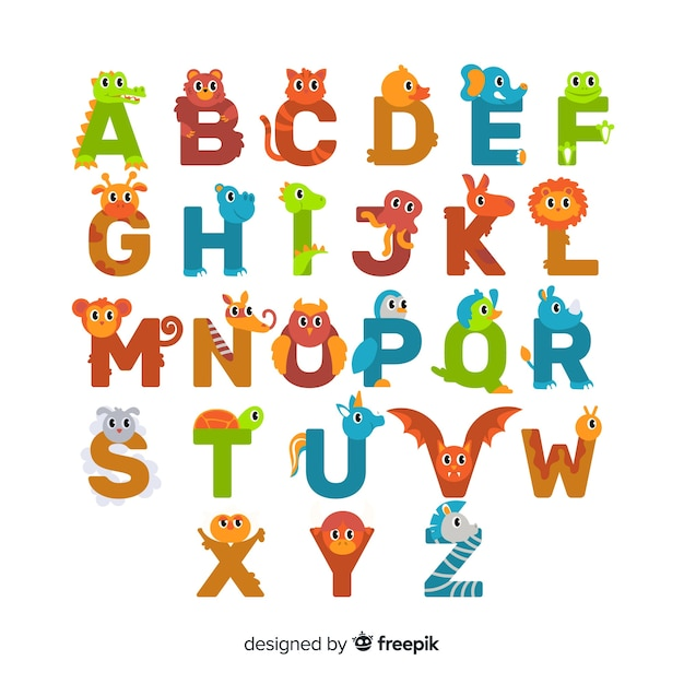 Flat design cute animal letters set Free Vector