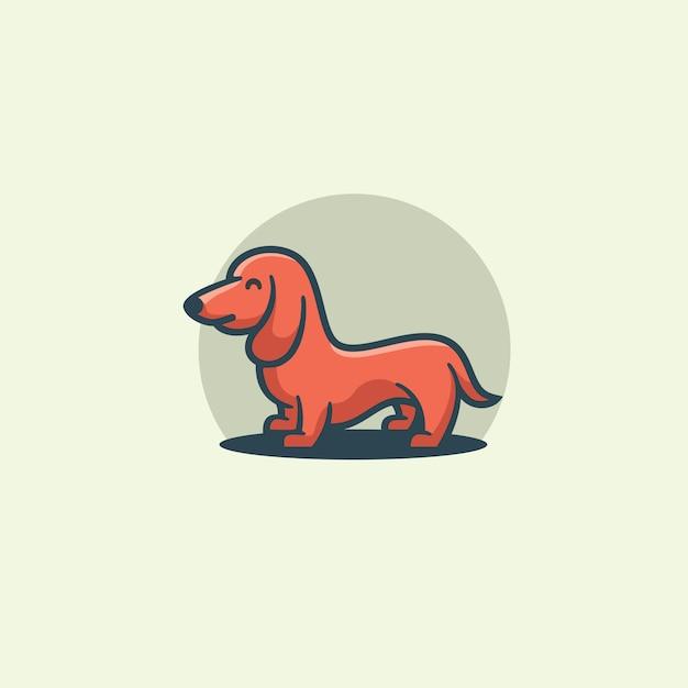Иллюстрация милой собаки плоского дизайна Premium векторы