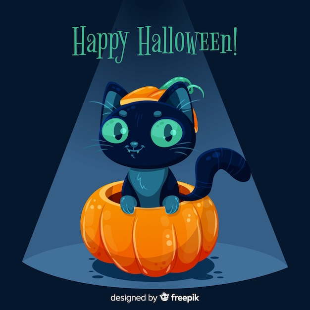 Flat design of cute halloween black cat Free Vector