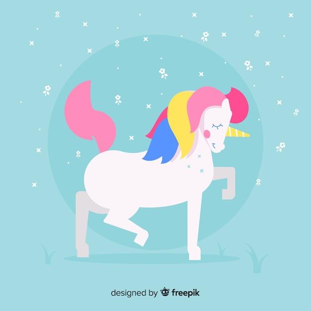 Flat design cute unicorn background Free Vector