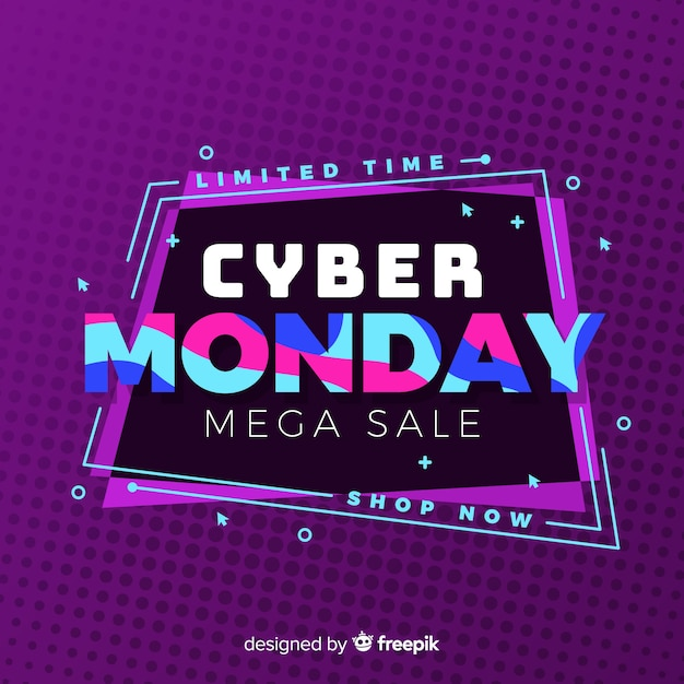 Flat design cyber monday background Free Vector