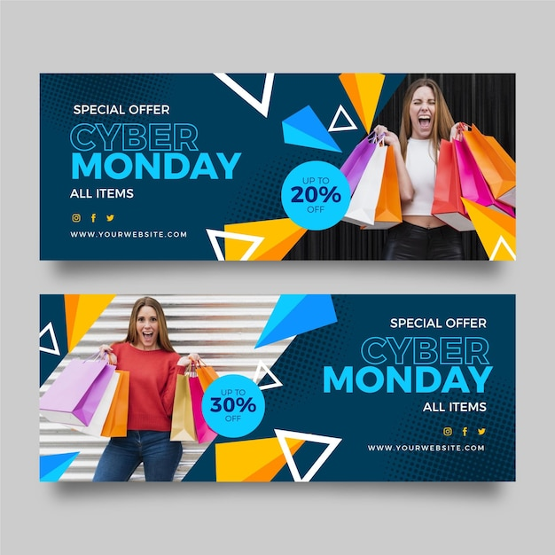 Flat design cyber monday banner with woman and bags Free Vector