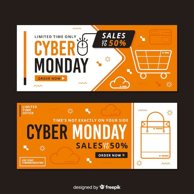 Flat design cyber monday banners template Free Vector