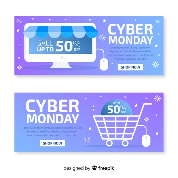 Flat design of cyber monday banners Free Vector