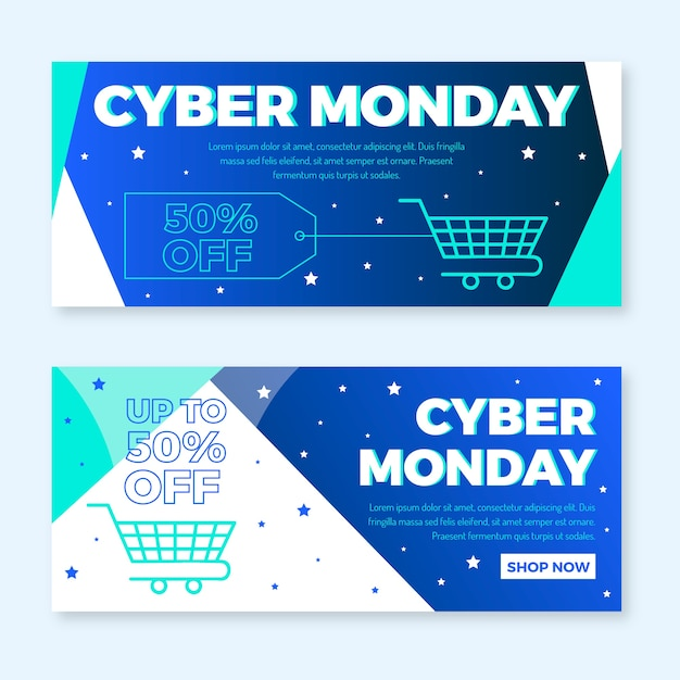 Flat design cyber monday banners Free Vector