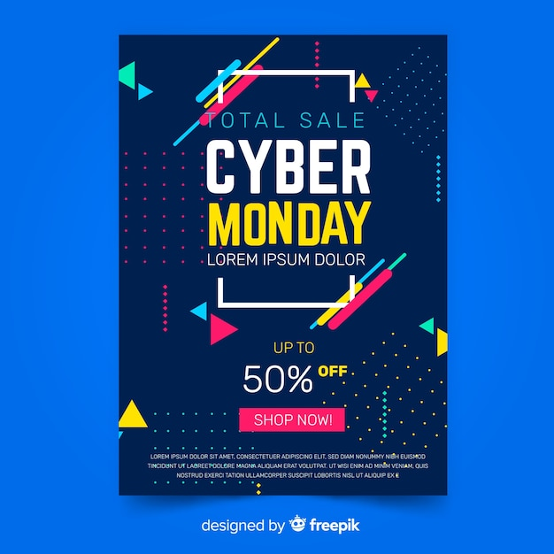 Flat design cyber monday flyer template Free Vector