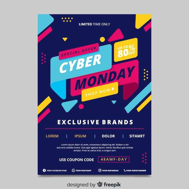 Flat design cyber monday poster template Free Vector