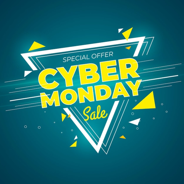 Flat design cyber monday promo banner template Free Vector