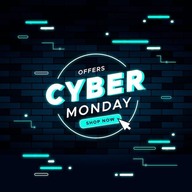 평면 디자인 사이버 월요일 판매 배너 서식 파일 무료 벡터