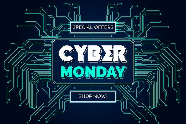 Плоский дизайн кибер-понедельника с цепями Бесплатные векторы