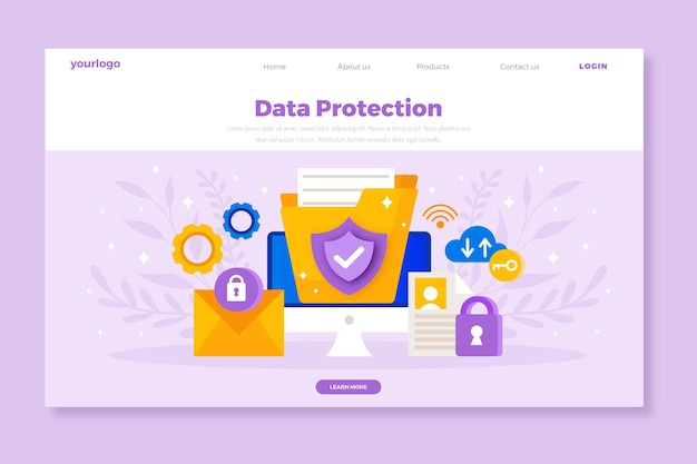 Flat design data protection landing page Free Vector