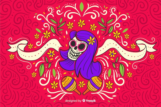 Flat design day of the dead background Premium Vector