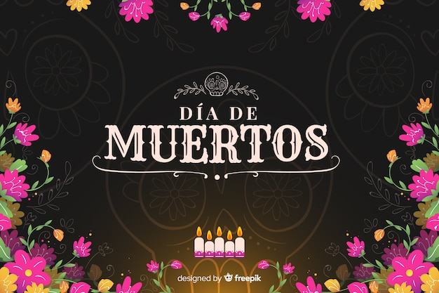 Flat design day of the dead background Free Vector