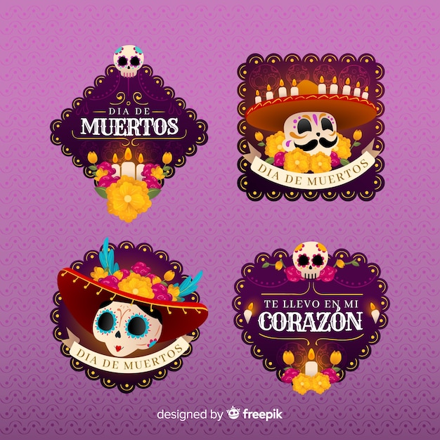 Flat design day of the dead badge collection Free Vector