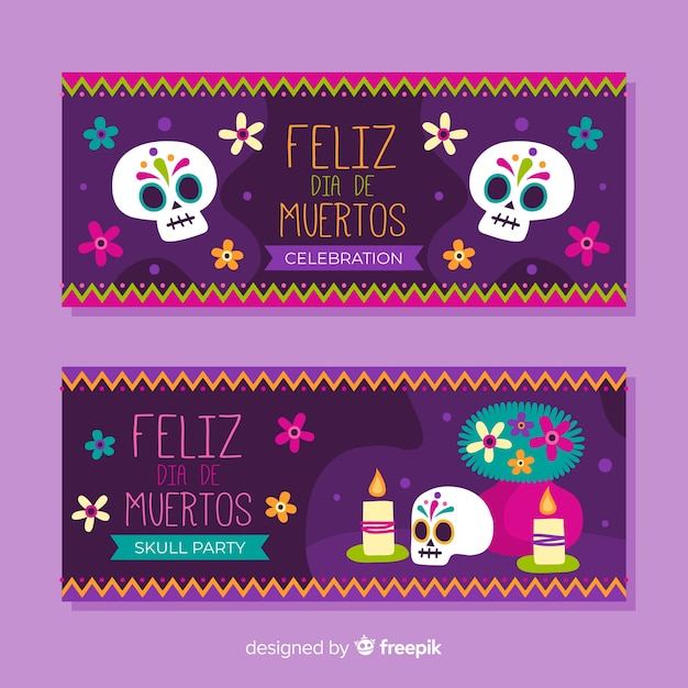 Flat design day of the dead banners Free Vector