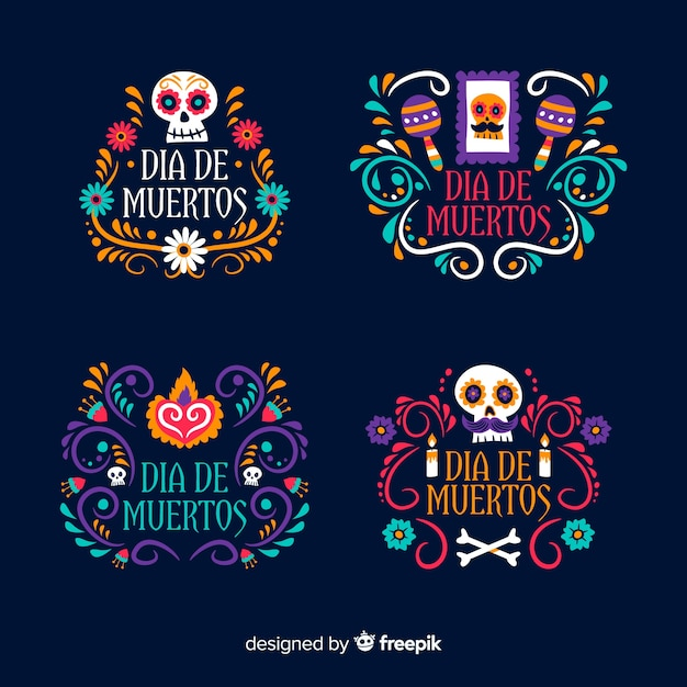 Flat design of day of the dead label Free Vector