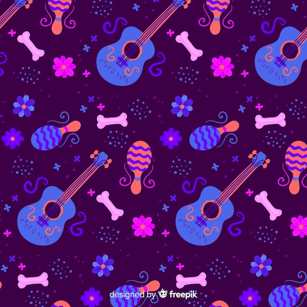 Flat design day of the dead pattern Free Vector