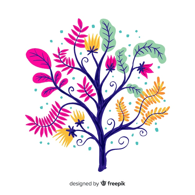 Flat design decorative floral branch Free Vector