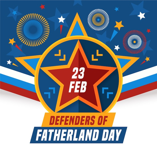 Плоский дизайн день защитников отечества 23 февраля Бесплатные векторы