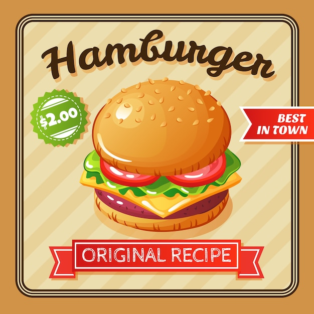 Flat design delicious hamburger with cheese and vegetables illustration Free Vector