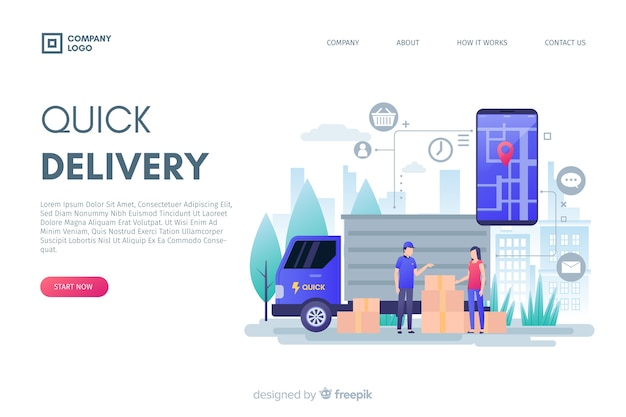 Flat design delivery concept for landing pages Free Vector