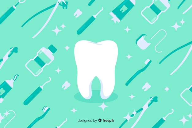 Flat design dentist blue background Free Vector