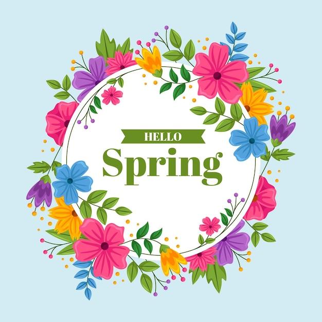 Flat design detailed spring floral frame Free Vector