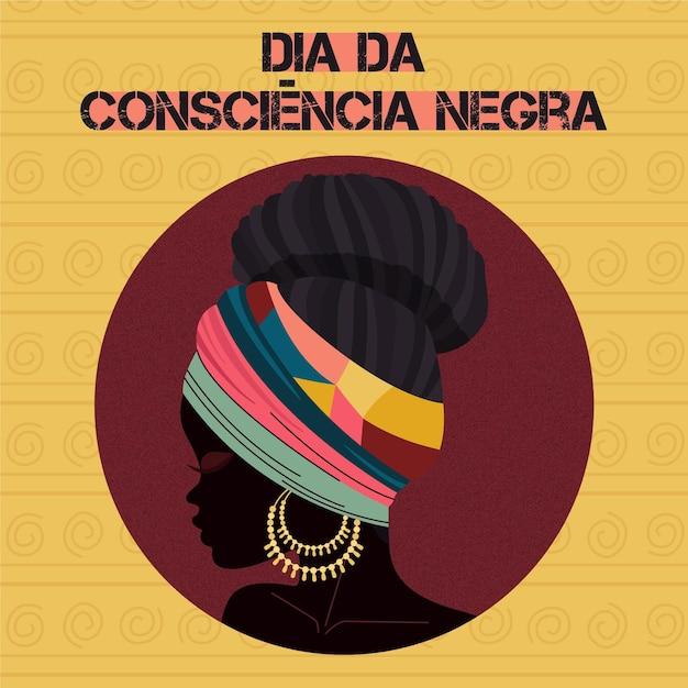 フラットデザインdia da consciencia negra 無料ベクター
