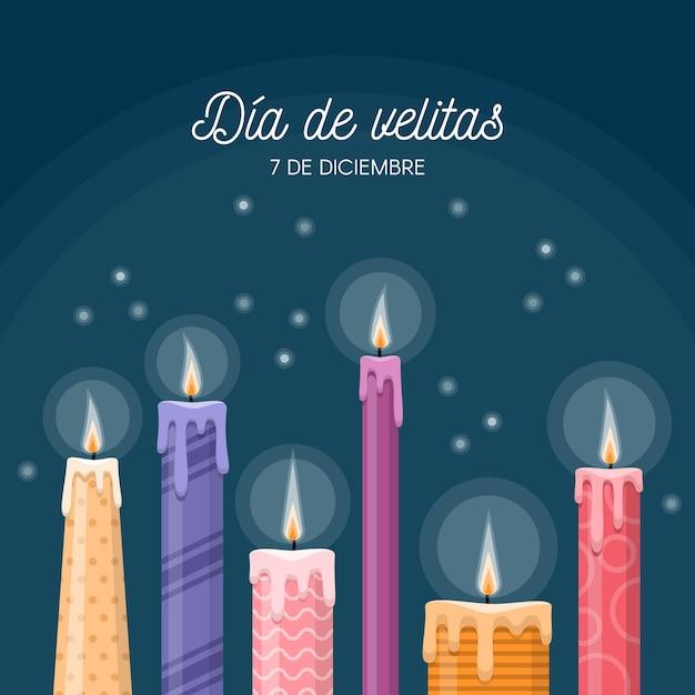 Celebrazione día de las velitas di design piatto Vettore gratuito