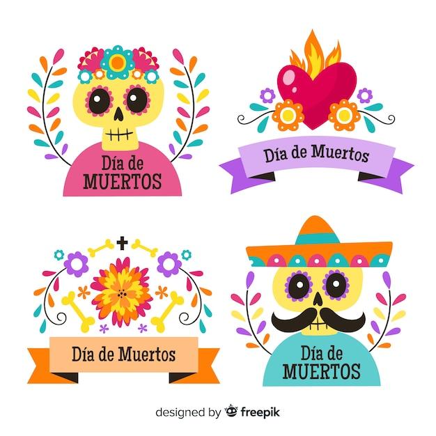 Flat design of dia de los muertos badge collection Free Vector