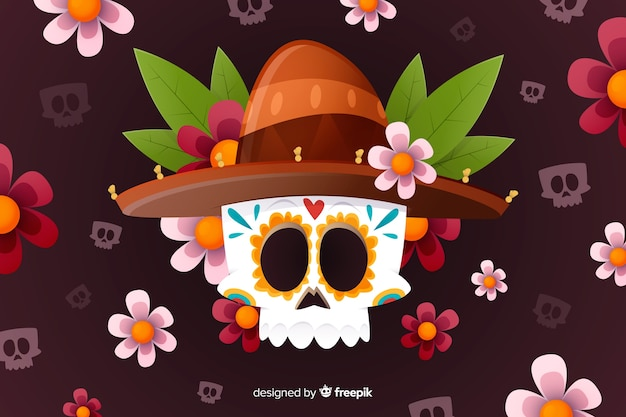 Flat design of dia de muertos background Free Vector