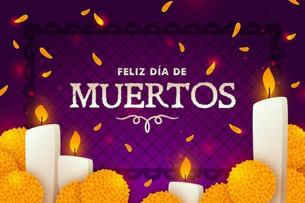Flat design dia de muertos background Free Vector