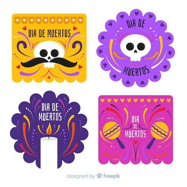 Flat design día de muertos badge collection Free Vector