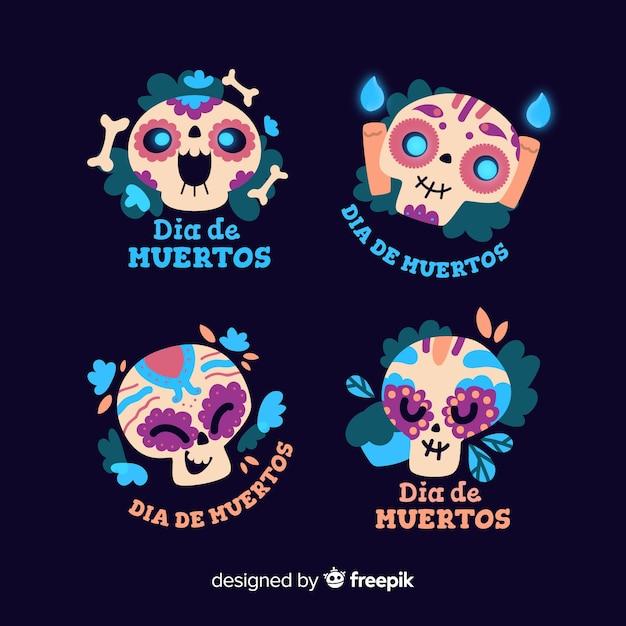 Flat design of dia de muertos badge collection Free Vector