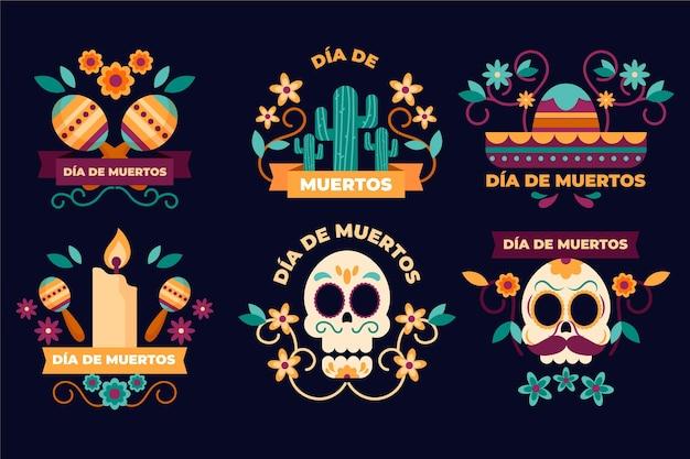 Плоский дизайн коллекции значков dia de muertos Бесплатные векторы