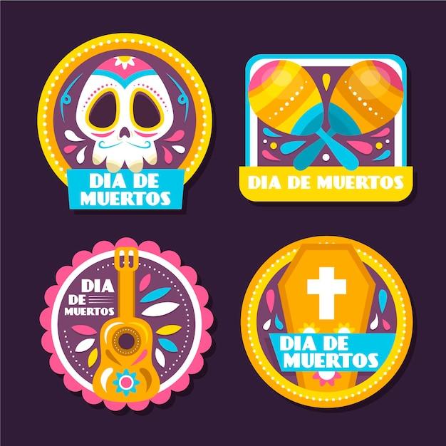 Collezione di badge dia de muertos design piatto Vettore gratuito