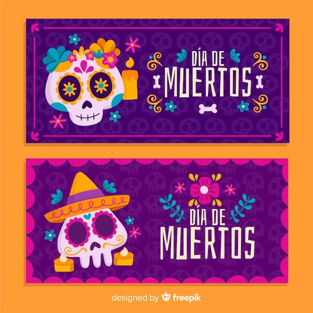 Flat design día de muertos banners template Free Vector