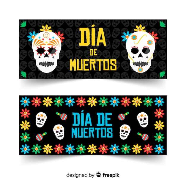 Flat design of dia de muertos banners Free Vector