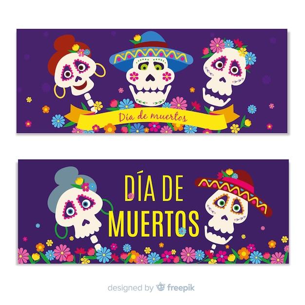 Flat design día de muertos banners Free Vector