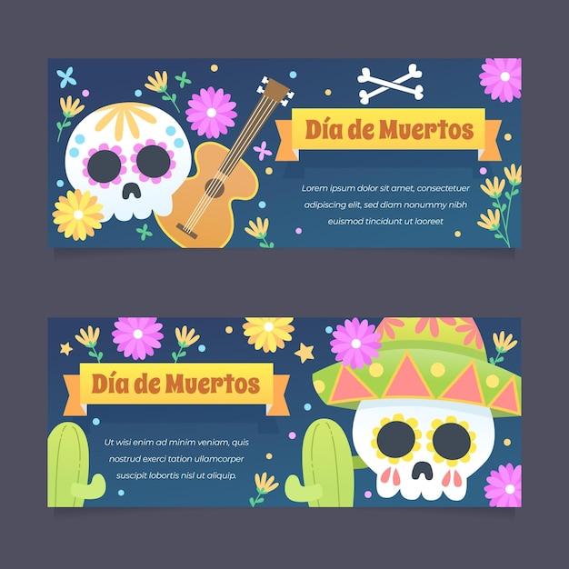 Плоский дизайн баннеров dia de muertos Бесплатные векторы