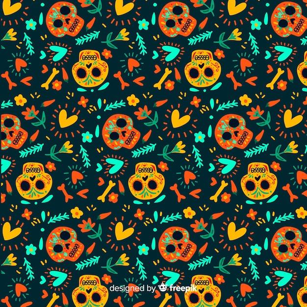 Flat design of dia de muertos pattern Free Vector